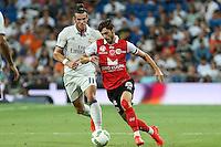 Stade de Reims's Berthier and Real Madrid's Gareth Baleduring the XXXVII Bernabeu trophy between Real Madrid and Stade de Reims at the Santiago Bernabeu Stadium. August 15, 2016. (ALTERPHOTOS/Rodrigo Jimenez) /NORTEPHOTO