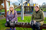 Orla Dooley (left) and Triona Lyons relaxing in the Tralee town park on Saturday.