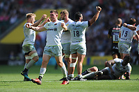 Ben Spencer of Saracens celebrates winning the Aviva Premiership Rugby Final between Exeter Chiefs and Saracens at Twickenham Stadium on Saturday 26th May 2018 (Photo by Rob Munro/Stewart Communications)