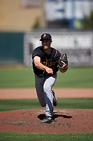 Modesto Nuts relief pitcher Johnny Adams (25) during a California League game against the Inland Empire 66ers on April 10, 2019 at San Manuel Stadium in San Bernardino, California. Inland Empire defeated Modesto 5-4 in 13 innings. (Zachary Lucy/Four Seam Images)