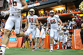 Boston College Eagles defensive tackle Brian Mihalik (99) and tight end Michael Giacone (88) coming of the tunnel before a game against the Syracuse Orange at the Carrier Dome on November 30, 2013 in Syracuse, New York.  Syracuse defeated Boston College 34-31.  (Copyright Mike Janes Photography)