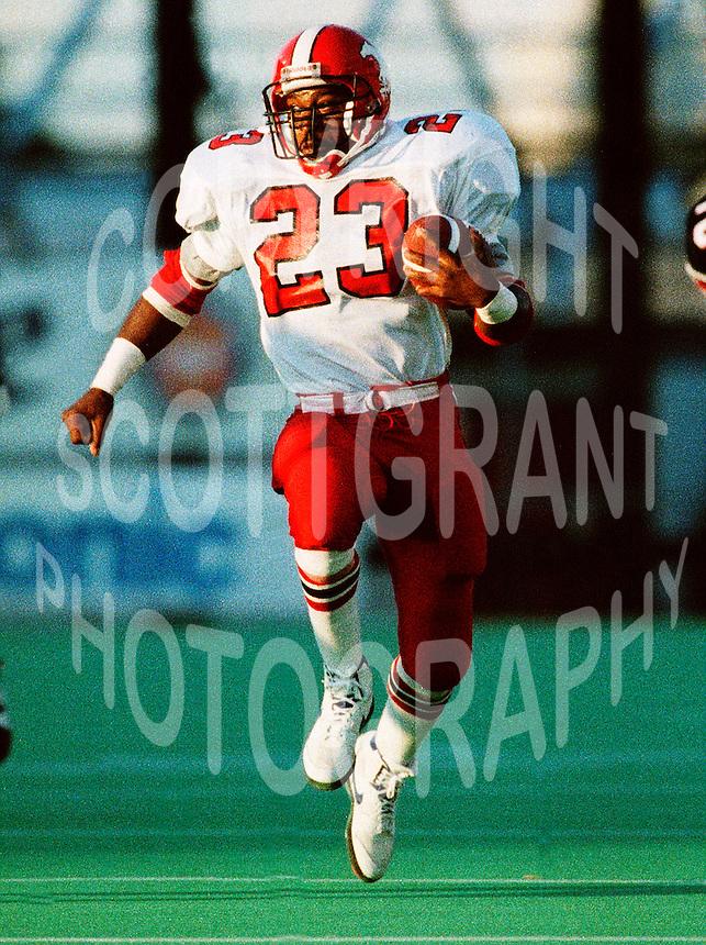 Keyvan Jenkins Calgary Stampeders running back 1991. Photo copyright Scott Grant