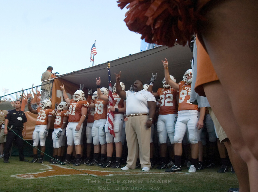 09 September 2006: Texas players, coaches, and cheerleaders prepare to take the field prior to the Longhorns 24-7 loss to the Ohio State Buckeyes at Darrell K Royal Memorial Stadium in Austin, TX.