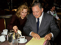 Montreal (Qc) CANADA, November 1994 File Photo -<br /> Parti Quebecois (PQ) Leader Jacques Parizeau and Lizette Lapointe,2nd wife<br /> <br /> <br /> Photo by Pierre Roussel / Images Distribution