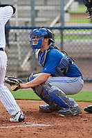 GCL Blue Jays catcher Hagen Danner (33) waits to receive a pitch during the first game of a doubleheader against the GCL Yankees East on July 24, 2017 at the Yankees Minor League Complex in Tampa, Florida.  GCL Blue Jays defeated the GCL Yankees East 6-3 in a game that originally started on July 8th.  (Mike Janes/Four Seam Images)