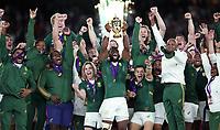 The Springboks celebrate winning the Rugby World Cup Final match between South Africa Springboks and England Rugby World Cup Final at the International Stadium in Yokohama, Japan on Saturday, 2 November 2019. Photo: Steve Haag / stevehaagsports.com