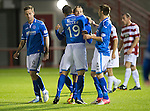 Hamilton Accies v St Johnstone...24.09.13      League Cup<br /> Stevie May celebrates his second goal with Gary Miller and Gwion Edwards<br /> Picture by Graeme Hart.<br /> Copyright Perthshire Picture Agency<br /> Tel: 01738 623350  Mobile: 07990 594431