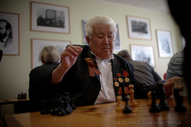 Competitors take part in a chess tournament in City Chess, a newly constructed suburb of Elista in the Republic of Kalmykia, Russian Federation on May 8, 2010. Kalmykia is known as an international chess mecca, due to the fact that its President, Kirsan Ilyumzhinov, is the head of the International Chess Federation (FIDE). Chess is mandatory in primary schools though out the autonomous republic.