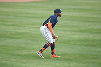 Buies Creek Astros center fielder Ronnie Dawson (4) on defense against the Winston-Salem Dash at BB&T Ballpark on May 5, 2018 in Winston-Salem, North Carolina. The Dash defeated the Astros 6-2. (Brian Westerholt/Four Seam Images)