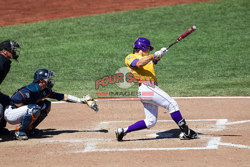 LSU Tigers outfielder Chris Sciambra (5) swings the bat during the NCAA College baseball World Series against the Cal State Fullerton on June 16, 2015 at TD Ameritrade Park in Omaha, Nebraska. LSU defeated Fullerton 5-3. (Andrew Woolley/Four Seam Images)