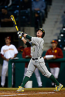 Mitchell Tolman #37 of the Oregon Ducks bats against the USC Trojans at Dedeaux Field on March 15, 2013 in Los Angeles, California. (Larry Goren/Four Seam Images)