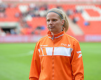 20150508 - LIEGE , BELGIUM : referee Leen Martens pictured during the soccer match between the women teams of Standard de Liege Femina and PSV Eindhoven , on the 26th and last matchday of the BeNeleague competition Friday 8 th May 2015 in Stade Maurice Dufrasne in Liege . PHOTO DAVID CATRY