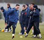 Ian Black wins his sprint and laughs as in the background Ally McCoist and Kenny McDowall cannot believe it
