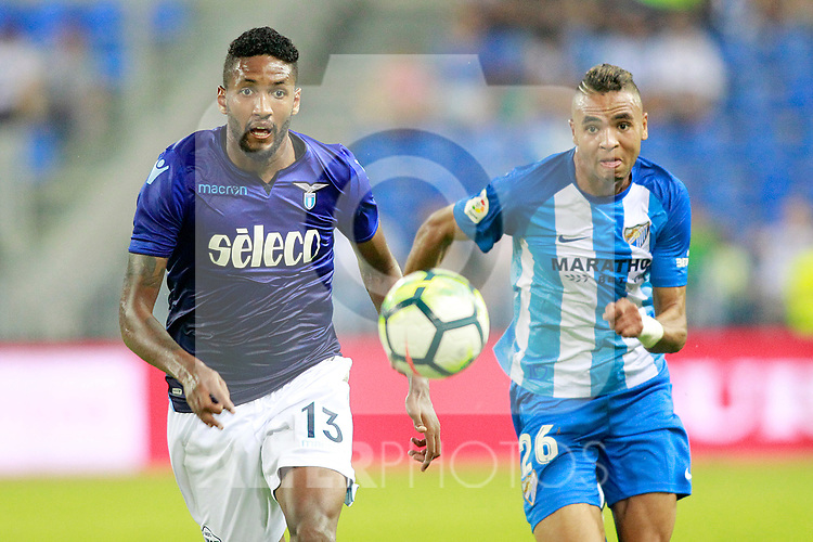 Malaga CF's Youssef En-Nesyri (r) and SS Lazio's Wallace during XXXIII Costa del Sol Trophy. August 5,2017. (ALTERPHOTOS/Acero)
