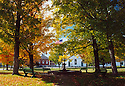Fall unfolds on the town common in Rumney, New Hampshire.