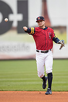 Toledo Mud Hens second baseman Jason Krizan (20) makes a throw to first base against the Lehigh Valley IronPigs during the International League baseball game on April 30, 2017 at Fifth Third Field in Toledo, Ohio. Toledo defeated Lehigh Valley 6-4. (Andrew Woolley/Four Seam Images)
