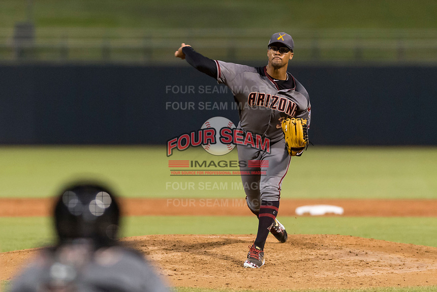 AFL East relief pitcher Jon Duplantier (31), of the Salt River Rafters and the Arizona Diamondbacks organization, delivers a pitch during the Arizona Fall League Fall Stars game at Surprise Stadium on November 3, 2018 in Surprise, Arizona. The AFL West defeated the AFL East 7-6 . (Zachary Lucy/Four Seam Images)