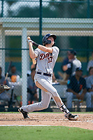 Detroit Tigers designated hitter Parker Meadows (17) follows through on a swing during a Florida Instructional League game against the Pittsburgh Pirates on October 2, 2018 at the Pirate City in Bradenton, Florida.  (Mike Janes/Four Seam Images)