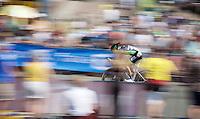 Frederic Brun (FRA/Bretagne-Séché Environnement) speeding along<br /> <br /> stage 1 prologue: Utrecht (13.8km)<br /> Tour de France 2015