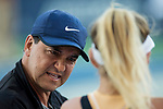 August 2, 2019: Amanda Anisimova (USA) listens to her coach in a match where she was defeated by Saisai Zheng (CHN) 5-7, 7-5, 6-4 in the quarterfinals of the Mubadala Silicon Valley Classic at San Jose State in San Jose, California. ©Mal Taam/TennisClix/CSM