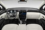 Stock photo of straight dashboard view of 2022 Hyundai Tucson Limited 5 Door SUV Dashboard