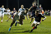 TRY - Dean Adamson of Bedford Blue is the scorer during the Greene King IPA Championship match between London Scottish Football Club and Bedford Blues at Richmond Athletic Ground, Richmond, United Kingdom on 10 January 2020. Photo by Carlton Myrie.