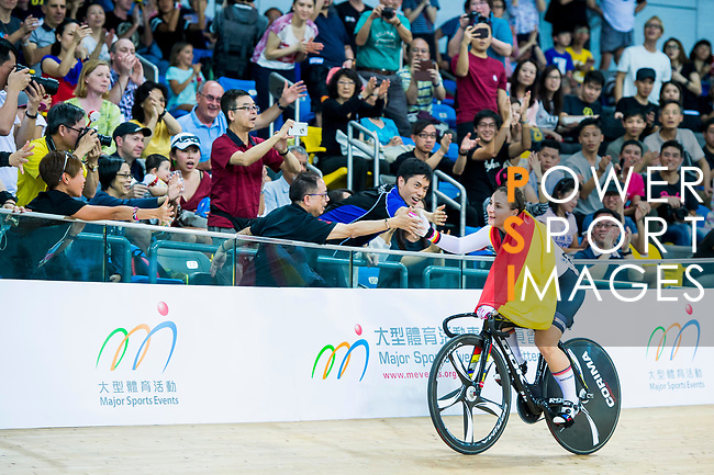 Kristina Vogel of Germany celebrates winning in the Women's Keirin Finals during the 2017 UCI Track Cycling World Championships on 16 April 2017, in Hong Kong Velodrome, Hong Kong, China. Photo by Marcio Rodrigo Machado / Power Sport Images