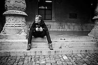 Allesandro De Marchi (ITA/BMC) waiting for the pre-race team presentation (the day before the race)<br /> <br /> 102nd Liège-Bastogne-Liège 2016