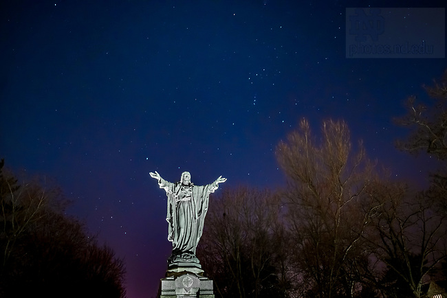 February 21, 2020; Stars in the sky above the Sacred Heart Jesus statue on Main Quad (Photo by Matt Cashore/University of Notre Dame)