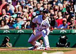Jun 22, 2019; Boston, MA, USA; Boston Red Sox first baseman Michael Chavis gets the second out in the first inning against the Toronto Blue Jays at Fenway Park. Mandatory Credit: Ed Wolfstein-USA TODAY Sports