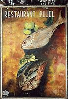 """Europe/France/Languedoc-Roussillon/66/Pyrénées-Orientales/Port-Vendres: Enseigne du restaurant """"Pujol"""""""