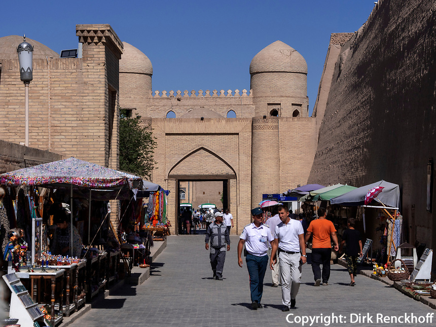 Ota Tor der Stadtmauer, Xiva, Usbekistan, Asien, UNESCO-Weltkulturerbe<br /> Ota-Gate, City wall, historic city Ichan Qala, Chiwa, Uzbekistan, Asia, UNESCO heritage site