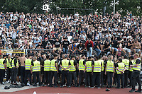 Die Ulmer Fankurve, SSV Ulm 1846 - Eintracht Frankfurt, Football, DFB-Pokal,round 1, 18.08.2018<br />DFB RULES PROHIBIT USE IN MMS SERVICES VIA HANDHELD DEVICES UNTIL TWO HOURS AFTER A MATCH AND ANY USAGE ON INTERNET OR ONLINE MEDIA SIMULATING VIDEO FOOdayE DURING THE MATCH. *** Local Caption *** © pixathlon<br /> Contact: +49-40-22 63 02 60 , info@pixathlon.de