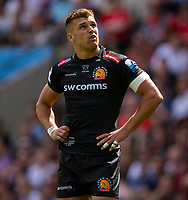 Exeter Chiefs' Henry Slade<br /> <br /> Photographer Bob Bradford/CameraSport<br /> <br /> Gallagher Premiership Final - Exeter Chiefs v Saracens - Saturday 1st June  2018 - Twickenham Stadium - London<br /> <br /> World Copyright © 2019 CameraSport. All rights reserved. 43 Linden Ave. Countesthorpe. Leicester. England. LE8 5PG - Tel: +44 (0) 116 277 4147 - admin@camerasport.com - www.camerasport.com