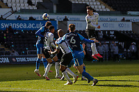 5th April 2021; Liberty Stadium, Swansea, Glamorgan, Wales; English Football League Championship Football, Swansea City versus Preston North End; Connor Roberts of Swansea City climbs high but heads wide of the target