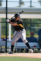 Pittsburgh Pirates Daniel Arribas (26) during a minor league spring training game against the Toronto Blue Jays on March 21, 2015 at Pirate City in Bradenton, Florida.  (Mike Janes/Four Seam Images)