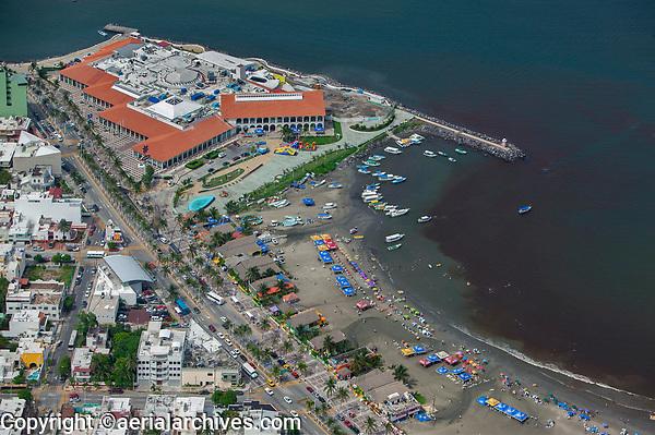 aerial photograph of Playa Villa del Mair beach Veracruz, Mexico | Acuario de Veracruz the Veracruz Aquarium in the background