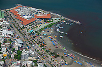aerial photograph of Playa Villa del Mair beach Veracruz, Mexico | Acuario de Veracruz the Veracruz Aquarium in the background