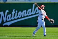 12 March 2011: Washington Nationals' outfielder Bryce Harper tosses around in the outfield during a Spring Training game against the New York Yankees at Space Coast Stadium in Viera, Florida. The Nationals edged out the Yankees 6-5 in Grapefruit League action. Mandatory Credit: Ed Wolfstein Photo