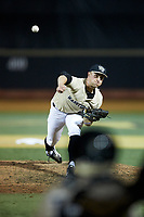 Wake Forest Demon Deacons relief pitcher Rayne Supple (9) delivers a pitch to the plate against the Liberty Flames at David F. Couch Ballpark on April 25, 2018 in  Winston-Salem, North Carolina.  The Demon Deacons defeated the Flames 8-7.  (Brian Westerholt/Four Seam Images)