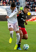 WASHINGTON, DC - MARCH 07: Nicolás Figal #5 of Inter Miami clashes with Edison Flores #10 of DC United during a game between Inter Miami CF and D.C. United at Audi Field on March 07, 2020 in Washington, DC.