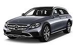 2017 Mercedes Benz E-Class All-Terrain 5 Door Wagon Angular Front stock photos of front three quarter view