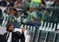 Calcio, Serie A: Juventus - Sampdoria, Turin, Allianz Stadium, September 20, 2020.<br /> Juventus' coach Andrea Pirlo prior to the Italian Serie A football match between Juventus and Sampdoria at the Allianz stadium in Turin, September 20,, 2020.<br /> UPDATE IMAGES PRESS/Isabella Bonotto