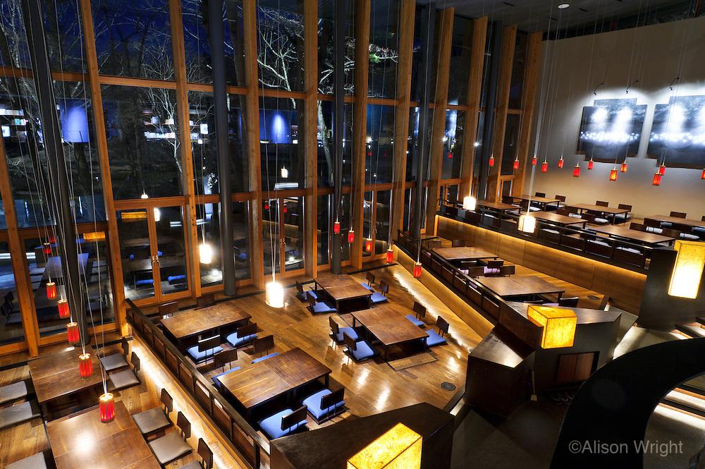 Hoshinoya Karuizawa luxury resort at the foot of Mt. Asam. The restaurant.