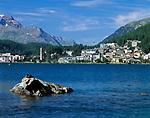 CHE, Schweiz, Graubuenden, Oberengadin, Blick ueber den St. Moritzsee auf St. Moritz Bad   CHE, Switzerland, Graubuenden, Upper Engadin, view across St. Moritz Lake at St. Moritz Bad