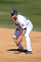 Binghamton Mets first baseman Allan Dykstra #24 during a game against the Akron Aeros at NYSEG Stadium on April 7, 2012 in Binghamton, New York.  Binghamton defeated Akron 2-1.  (Mike Janes/Four Seam Images)