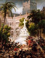 Assault of the monastery of of Santa Engracia, February 8, 1809 by Lejeune, Louis-Francois, Baron (1775-1848) / Musee de l'Histoire de France, Chateau de Versailles / 1827 / France / Oil on canvas / History / 162x129 / Neoclassicism