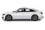 Car Driver side profile view of a 2019 Audi A6 S-Line 4 Door Sedan Side View