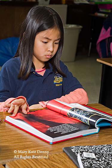 Vietnamese American second grade female with school uniform concentrates and reads book at desk in classroom