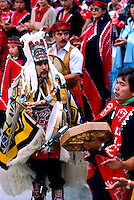Bella Bella, BC, British Columbia, Canada - Native American Indians in Traditional Ceremonial Regalia celebrating at Pow Wow